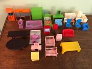 Lot Of 29 Pieces Of Vintage 1950s Dollhouse Furniture Mid Century Modern