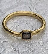 Cathy Waterman 22k Gold Cognac Diamond Solitaire Ring Size 7
