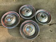 Vintage 4 15 Ford Dog Dish Hubcaps And Dual Red Line Beauty Rings - Cool