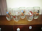 Rare Vintage Hand Painted Cowboy Scenes On High Ball Glass Tumblers Very Nice