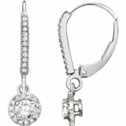 Diamant Halo-style Levier Arriandegravere Earrings In 14k Or Blanc 5/8 Ct. Tw