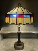 Arts And Crafts Table Lamp Red White And Blue Slag Style Stain Glass Shade