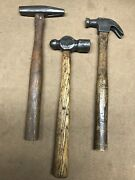 Lot Of 3 Vintage Hammers Machinist Claw Tack.