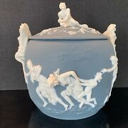 Amazing Lg. Antique Volkstedt Germany Satyrs And Nymphs Covered Jasperware Tureen