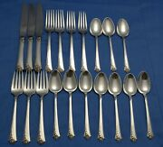 20 Pcs Heirloom Sterling Silver Flatware Damask Rose 672 Grams With Free Ship