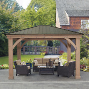 12and039 X 14and039 Cedar Outdoor Gazebo With Aluminum Roof Contact Us For Availability
