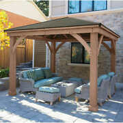 12and039 X 12and039 Cedar Outdoor Gazebo W/ Aluminum Roof Must Contact For Availability