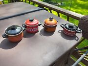 4 Vintage 60s/70s Mid-century Red And Orange Enamel Pot Cookware With Lid Germany
