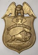 Vintage Buffalo Ny Police Heavy Brass Metal License Plate Topper 8andrdquo Rare
