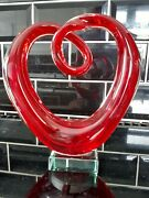 Murano Glass Sculpture Music Cleft / Heart 20cm High In Lovely Condition