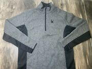 Menandrsquos Spyder Outbound Mid Weight Core Stryke 1/4 Zip Sweater Black/gray Large
