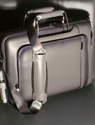Nwt Tumi Arrive Exclusive Hannover Slim Leather Briefcase Bag Grey 1100
