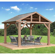 14and039 X 12and039 Cedar Outdoor Pavilion W/aluminum Roof Must Contact For Availability