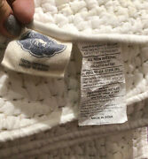 John Robshaw Lila Stitched Queen Cotton Quilt Blanket Bedcover White / Sand