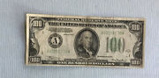 Old 1934 A Boston 100 Dollar Bill Note Low Serial No. A03101776 A