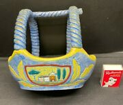 C1920's 2 Handled Basket Amphora Czechoslovakia Possibly Church In 2 Panels