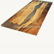 Table Resin Mappa Burl Acacia Wood Clear Resin Dine Table Tops Luxury Furniture