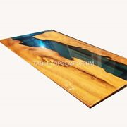Wooden Green Resin Ultra Smooth Dine Table Top Handmade Collectible Furniture