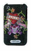 Ed Hardy Crystal Snap-on Back Cover For Iphone 3g And 3gs, Black Love Kills Slo