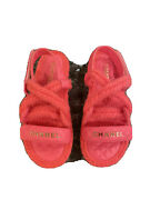 Nib 2022 Pink Rope Cord Leather Dad Sandals 38-39 Eur Sizes Slides Flats
