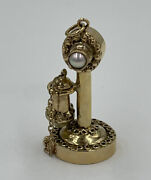14 Kt Yellow Gold Charm Old Fashion Candlestick Telephone 3 D Vintage