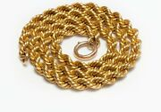 Antique Victorian 15k Yellow Gold Twisted Rope Chain Necklace