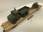 Mth Premier 60' Flat Car With Custom Usmc Mtvr And Mep Gen Set Chained O Scale