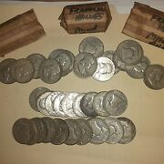 3 Rolls Franklin Half Dollar Coins. 90 Silver Us Coin, Mixed Lot 60 Coins