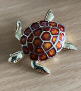 Vintage Gold Tone Turtle Pin Brooch Rust Copper Colored Enamel Shell Crystal Eye