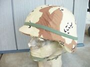 Usgi Pasgt Helmet W/ Desert Storm Camo Cover And Cat Eyes Band Size Large 1985