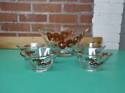 Glass Popcorn Bowls Wheaton 5 Piece Set Mid Century Modern Vintage Red Letters