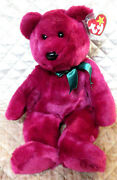 Ty Beanie Buddy Teddy Cranberry Bear 14 Nmwt Green Bow Le 1998 Retired
