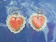 Vintage Southwest Style Spiny Oyster And Sterling Heart Earrings Unworn