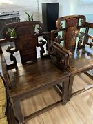 Consigned Antique Chinese Carved Official Armchairs