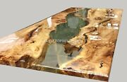 Mappa Burl Acacia Wooden Epoxy Clear Resin River Dining Conference Table Dandeacutecors