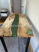 Fashion Green Wave Resin Table  acacia Epoxy Dine Table  Living Room Resin Table