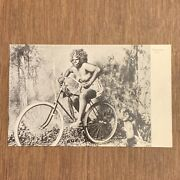 Antique Photo Postcard Civilized Fiji Native Woman + Child On Bicycle Cycling