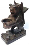 Lovely Antique Black Foret Carved Bear Smoker Smoking Stand Ash Tray