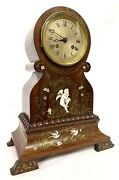 Antique Rosewood French Mantel Clock With Brass And Bovine Cherub Inlay Dumont