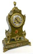 Antique Ormolu French Painted Mantel Clock On Stand Marti