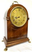 Antique Mahogany Single Fusee Mantel Clock With Egyption Engraved Dial Webster
