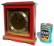 Large Red Laquered Chinoiserie Oriental Painted Elliot Mantel / Bracket Clock