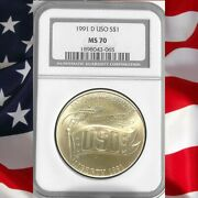 1991 D Ngc Ms70 Uso Commemorative Silver Dollar