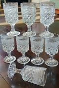 8 Anchor Hocking Wexford Water Goblets Vintage Diamond Waffle Pattern 6.5 10oz