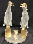 Large Murano Glass Double Chatting Birds/roosters Figurine