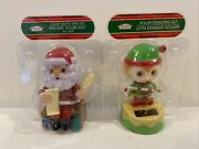 Solar Powered Dancing Bobblehead Toy - Christmas Santa And Elf Lot Of Two