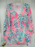 Nwot Lilly Pulitzer Silk Underwater Scenery Long Sleeve W.winged Attach Dress 6