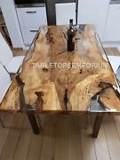 Clear Resin Wooden Handmade Center Dine Table Top Collectible Furniture Dandeacutecor