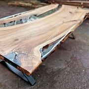 Clear Resin River Wooden Epoxy Dining Coffee Dine Table Top Luxury Furniture Art