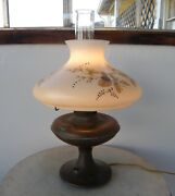 Copper Oil Lamp Hand Painted Glass Shade Leaves Acorns Leaves Victorian 1800's